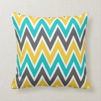 Turquoise Grey Yellow Gold Chevron Throw Pillow | Zazzle.co.uk
