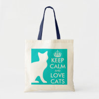 Turquoise Keep calm and love cats tote bag