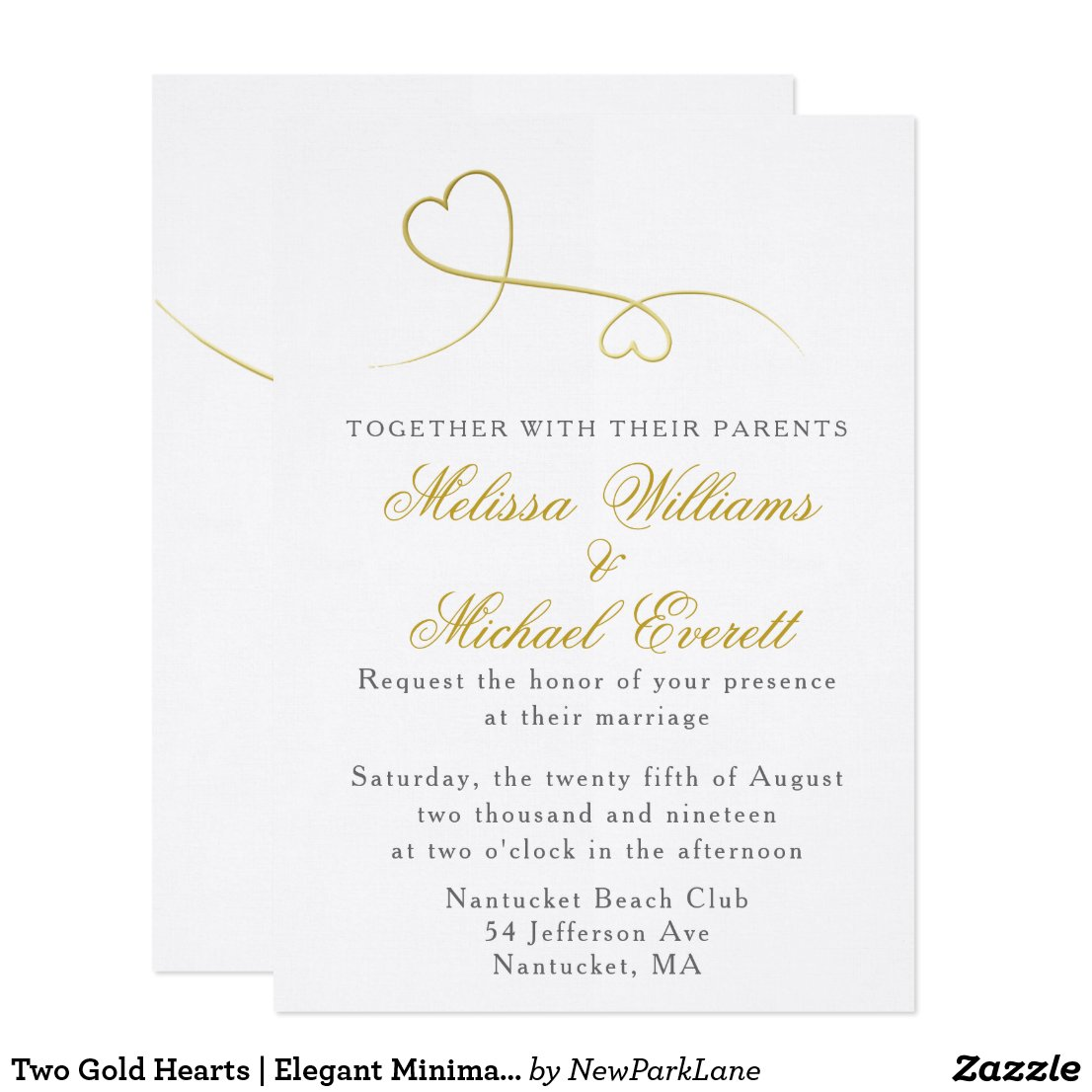 Two Gold Hearts | Minimal Wedding Invitation