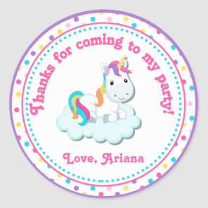 Unicorn Birthday Party Favour Tag Sticker