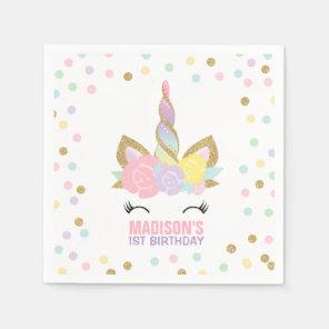 Unicorn Birthday Party Napkin Whimsical Unicorn