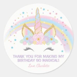 Unicorn Birthday Star Favour Stickers