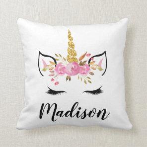 Unicorn Face With Eyelashes Personalised Name Cushion