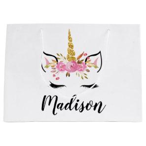 Unicorn Face With Eyelashes Personalised Name Large Gift Bag