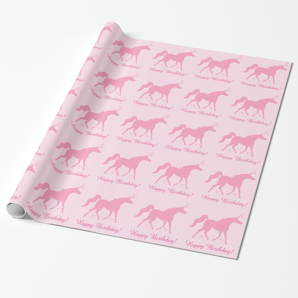 Unicorn in Pink Happy Birthday Wrapping Paper