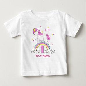 Unicorn Rainbow 1st Birthday Baby T-Shirt