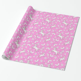Unicorns and Butterflies wrapping paper in pink