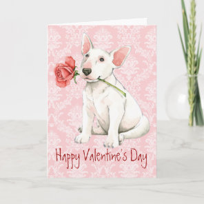 Valentine Rose Bull Terrier Holiday Card