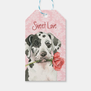 Valentine Rose Great Dane Gift Tags