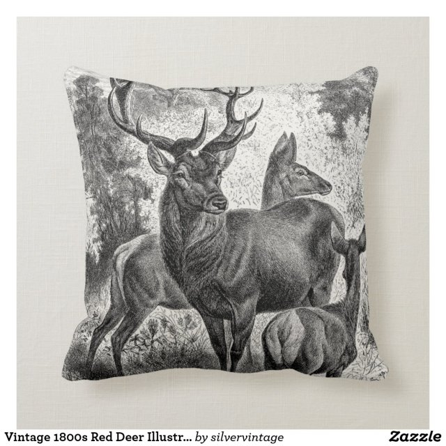 Vintage 1800s Red Deer Illustration Stag Doe Fawn Cushion