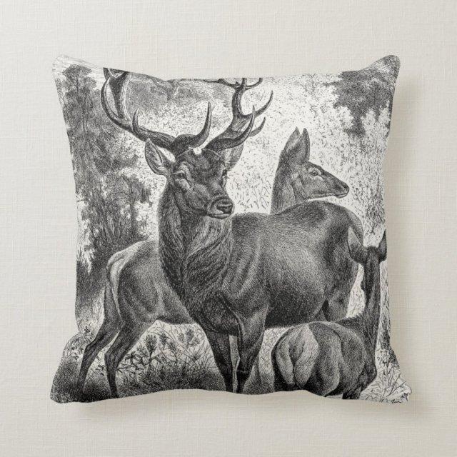 Vintage 1800s Red Deer Illustration Stag Doe Fawn Cushion