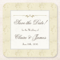 Vintage Beige Floral Save the Date Square Paper Coaster