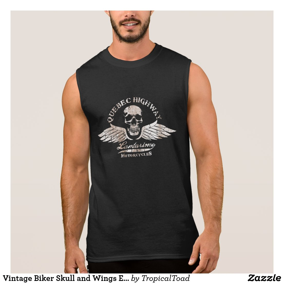Vintage Biker Skull and Wings Emblem Sleeveless Shirt