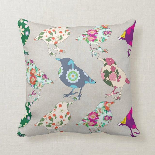 Vintage Bird Print Cushion