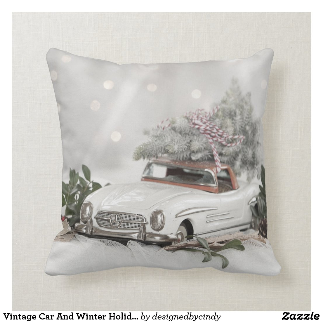 Vintage Car And Winter Holiday Scene Cushion