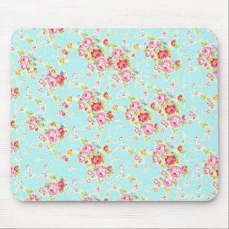 Vintage chic floral roses blue rose shabby flowers Mouse Mat