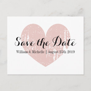 Vintage coral pink heart Save the date postcards