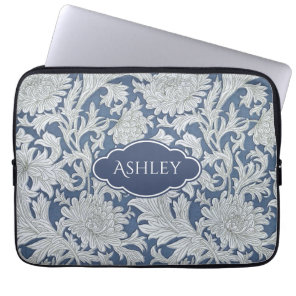 Vintage Floral Pattern with Custom Monogram Laptop Sleeve