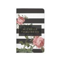 Vintage Floral Striped Personalized Pocket Journal