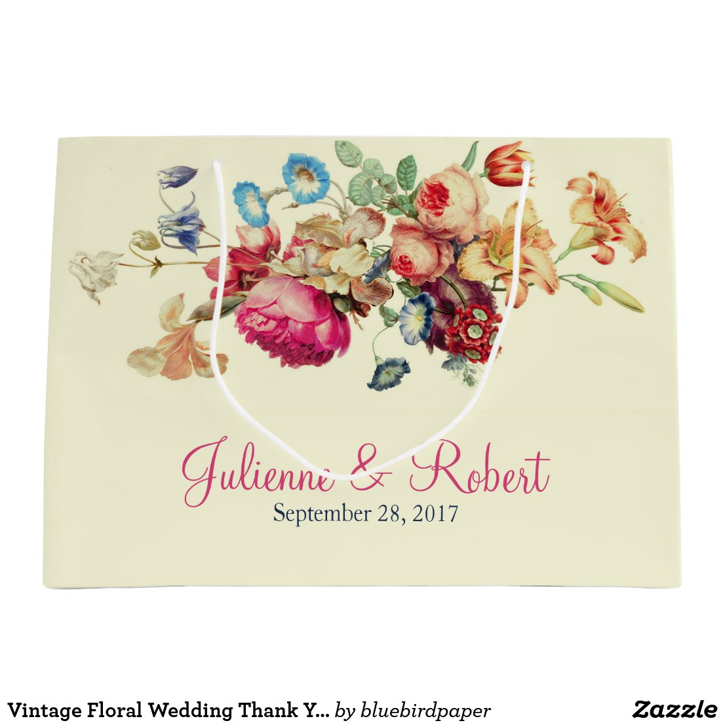 Vintage Floral Wedding Thank You Gift Bag