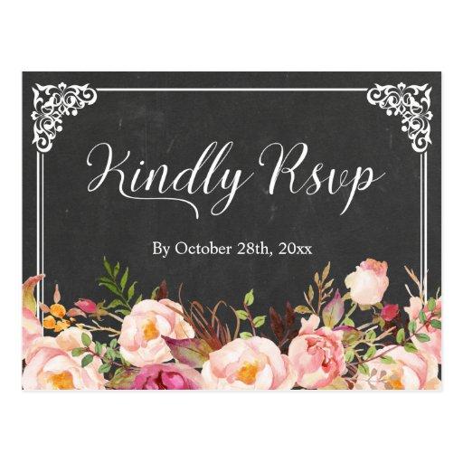 Vintage Frame Chalkboard Floral Wedding RSVP