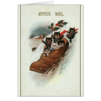 Vintage French Cats Christmas Greeting Card