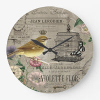 Vintage French garden bird clock