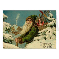 Vintage French Santa Christmas Greeting Card