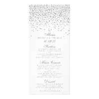 Vintage Glam Silver Confetti Wedding Menu Cards Rack Card Design
