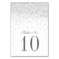 Vintage Glam Silver Confetti Wedding Table Number Card