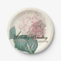 Vintage Hydrangea 80th Birthday Paper Plate
