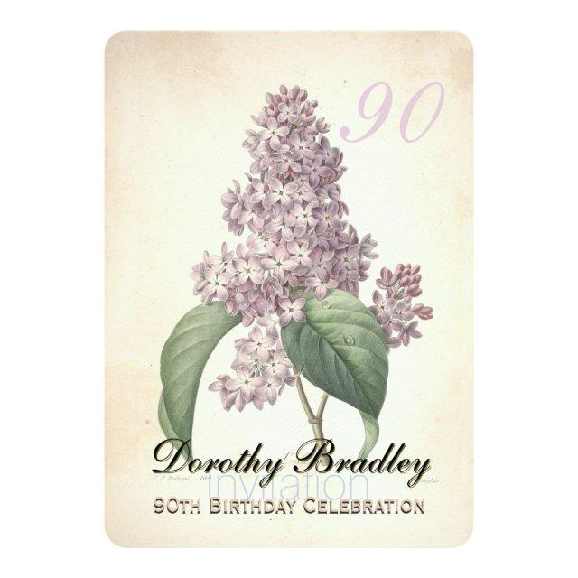 Vintage Lilac 90th Birthday Celebration Invitation