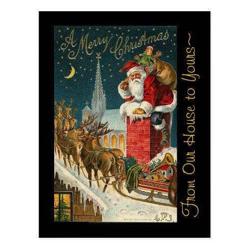 Vintage Merry Christmas Santa Sleigh Reindeer Zazzle