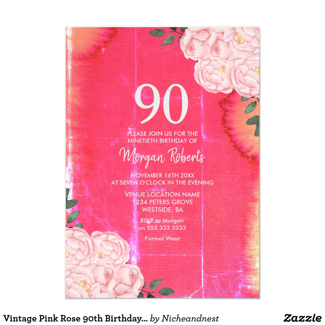 Vintage Pink Rose 90th Birthday Invitation