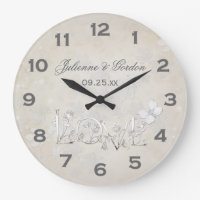 Vintage White on White Wedding Clock