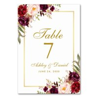 Watercolor Floral Burgundy Gold Wedding Table Number ...