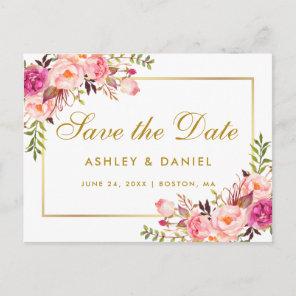 Watercolor Floral Pink Blush Gold Save The Date Announcement Postcard