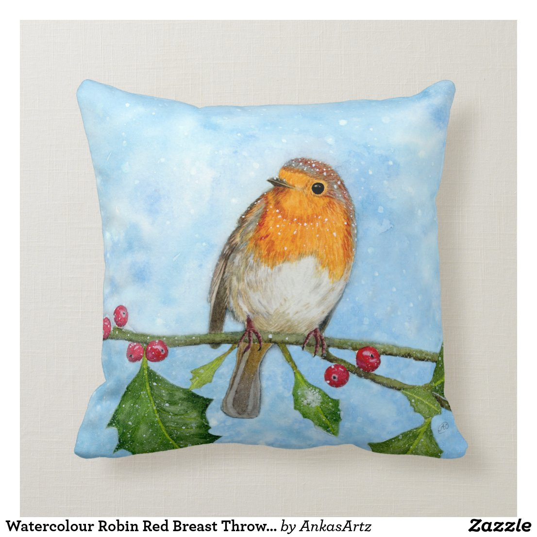 Watercolour Robin Red Breast Throw Pillow