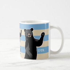 Waving Bear Says Hello, Striped, Monogrammed Coffee Mug