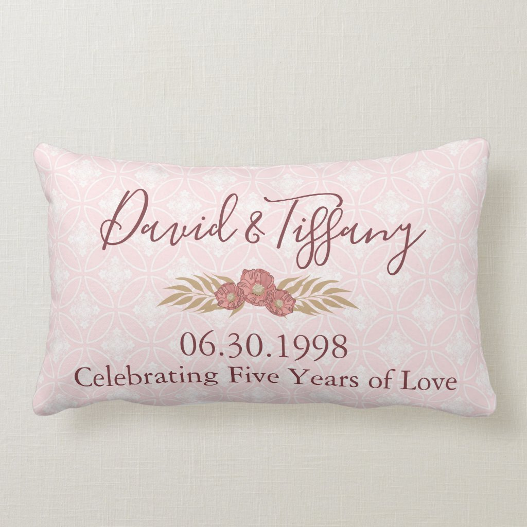 Wedding Anniversary 5 years of love Lumbar Cushion