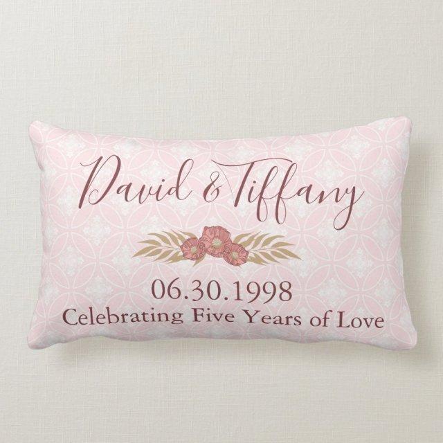 Wedding Anniversary 5 years of love Lumbar Cushion