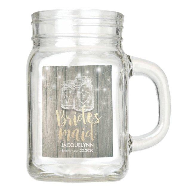 Wedding Bridesmaid Wood Mason Jars & String Lights