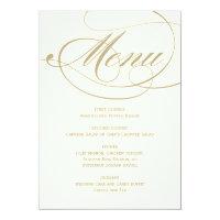 Wedding Dinner Menu Card | Gold Calligraphy Design