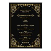 Wedding Dinner Menu Cards | Art Deco Style