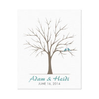 Wedding Fingerprint Tree – Classic Love Birds Canvas Print