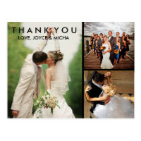 Wedding Photo Collage Thank You Postcard