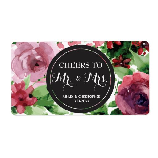 Wedding Reception Mini Champagne Label Floral