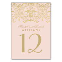 Wedding Table Number | Blush Gold Vintage Glamour Card