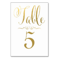 Wedding Table Number Cards Gold Foil Personalized