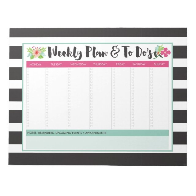 Weekly Plan & To-Do List Large Notepad